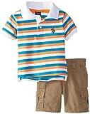 U.S. Polo Assn. Baby Boys' Pique Polo and Twill Cargo Shorts