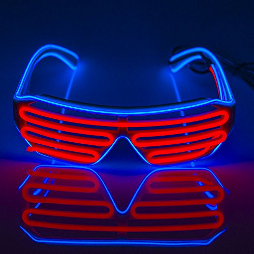 Fronnor EL Glasses El Wire Fashion Neon LED Light Up Shutter Shaped Glow Sun Glasses Rave Costume Party DJ Bright SunGlasses(Blue Frame+Pink) (El Wire Clothing compare prices)