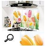 Anself Romantische Tulpen Wandtattoo für Küchen Kunst Dekoration Abluft Fett Öl Beweis Aufkleber 73 * 45cm