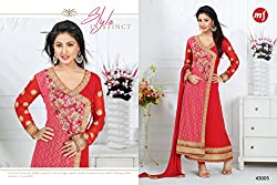 Pakeeza Libas Women's Georgette and Net Salwar UnStitched Dress Material (PKL14, Red, Pink & Gold)