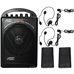 Audio2000s Wp-604b/l Dual Channel Wireless Microphone Portable Pa System