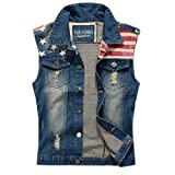 Najia Symbol Mens Slim Fit Retro Cow Light Blue Denim Vest 167