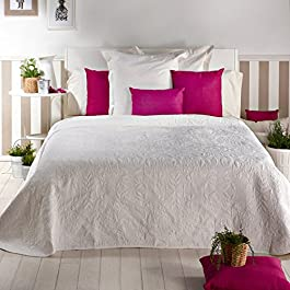 San Carlos Leveneche - Colcha bouti, relleno ligero, esquinas redondeadas, color blanco