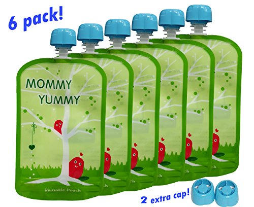 Reusable Food Pouch (6 Pack) - 4.4 Inch. 5oz Opening Easy to Fill and Clean - Heavy Double Zipper - Clean Manufacturing Processes - Suitable for Babies, Toddlers and Kids of All Ages (Reusable Food Pouches Baby compare prices)