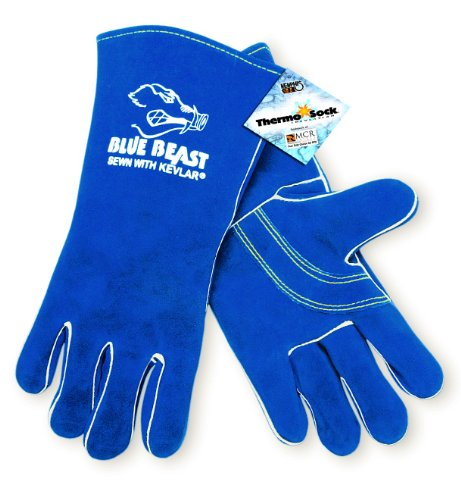 MCR Safety 4600 Blue Beast Split Cow Leather Deluxe Welder Gloves with Reinforced Palm and Wing Thumb, Blue, X-Large , 1-Pair