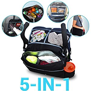 Insulated Portable Stroller Accessories Bag and Backseat Organizer - Keeps Drinks Cool by Rumbi Baby