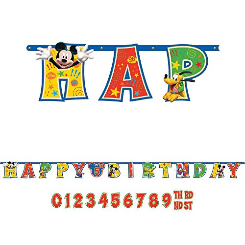 Amscan Disney Mickey Birthday Party Jumbo Add-An-Age Letter Banner (1 Piece), Multi - 1