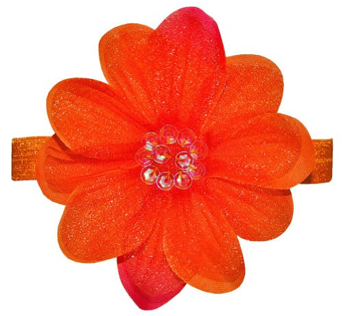 """Bow Allure """"Sarasota"""" Orange Sequin Organza Flower Elastic Headband for Toddlers and Girls **New** - Retail Packaging"""