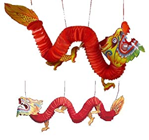 Two (2) Chinese Paper Dragon Decorations