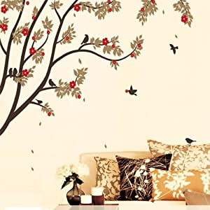 Autumn tree branches birds mural wall for Autumn tree mural