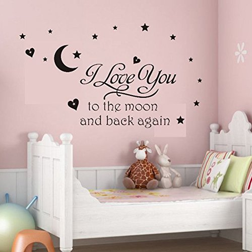LSD Black Vinyl Wall Decal I Love You to the Moon and Back Again Wall Sticker Letters Words Baby Kids Room Bedroom Art Wall Decor