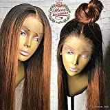 Human Hair Straight full lace wig 100% Real Brazilian Hair Ombre Black Roots 1B 30 Color 130% Density Wig For Black Women (16