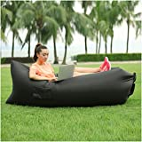 YAXXO Inflatable Outdoor Air Sleep Sofa Couch Lounger Portable Furniture (Black) Lay Back Bag