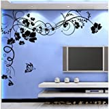 51enmlcZftL. SL160  Fuloon Large Vine Flower Butterfly Wall stickers Home Art Decoration /wall decals/wall transfers/wall tattoos/wall sticker  White 200CM*145CM (BKL)