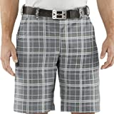 Under Armour HeatGear Forged Plaid Golf Short in Graphite/White/Parrot Green 38