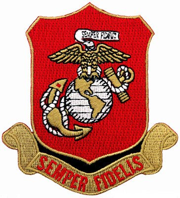 US Marine Corps Embroidered Patch USMC Military Semper Fi Fidelis Shield Iron-On Emblem