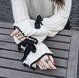 (べコ) Beco レディース ハイネック ニットセーター フレアスリーブ リボン付 ホワイト (ワンサイズ)