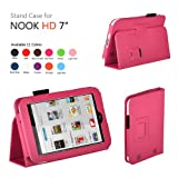 Exact PU Leather Folio Case for Nook HD 7 Tablet Hot Pink (Support Auto Sleep/Wake Function)