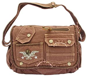 Brown Laptop Cross Body Canvas Messenger Bag