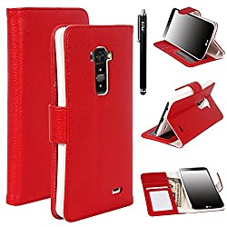 E LV Flip Wallet Case Cover for LG G Flex D959 / D950 / LS995 with 1 E LV Stylus and 1 Microfiber Digital Cleaner (Red)