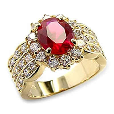 4.60ct LADIES BLOOD RED RUBY (10.8mm) RING. GENUINE SWAROVSKI BRILLIANT ROUNDS CRYSTALS. OUTSTANDING QUALITY.