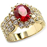 4.60ct LADIES BLOOD RED RUBY (10.8mm) RING. GENUINE SWAROVSKI ELEMENTS BRILLIANT ROUNDS CRYSTALS. OUTSTANDING QUALITY.