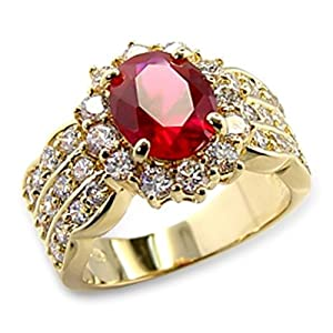 4.60ct LADIES BLOOD RED RUBY (10.8mm) RING. GENUINE SWAROVSKI BRILLIANT ROUNDS CRYSTALS. OUTSTANDING QUALITY - SIZE UK P, US 8, EU 56 57