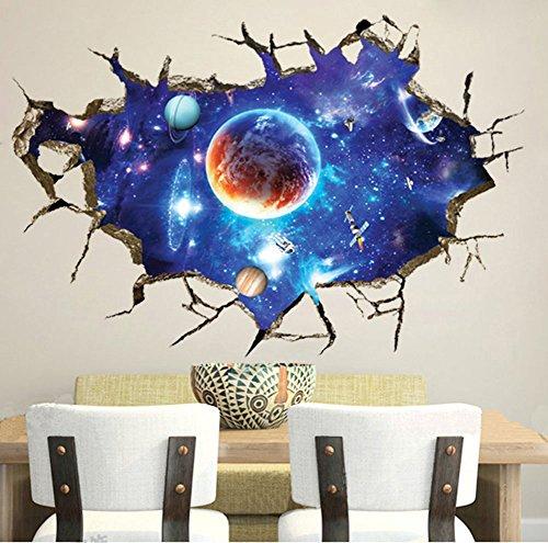 GenialES 3d creative Outer Space Cracked Adesivi da Parete in PVC, rimovibile Art Decal Per Soggiorno, Camera bambini Room Decor 60* 90cm