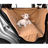 Waterproof Microfiber Half Back Seat Hammock Pet Seat Cover, One Size Fits All, Tan