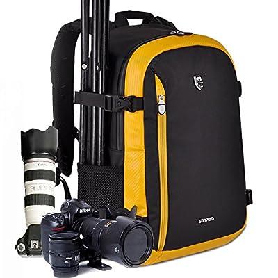 LINSPORT Luxury Photography Deluxe Shockproof Waterproof DSLR Camera Backpack Bag Case for Canon Nikon+Rain Cover Orange Black
