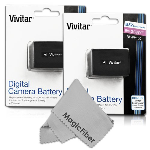 (2 Pack) Vivitar Np-Fv100 Ultra High Capacity 4200Mah Li-Ion Batteries For Sony Camcorders Hdr-Cx190 Hdr-Cx210 Hdr-Cx220 Hdr-Cx230 Hdr-Cx260 Hdr-Cx290 Hdr-Cx380 Hdr-Mv1 Hdr-Pj200 Hdr-Pj230 Hdr-Pj260 Hdr-Pj380 Hdr-Pj430 + More (Sony Np-Fv100 Replacement)