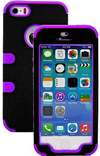Mylife Deep Purple And Black - Robot Series (Neo Hypergrip Flex Gel) 3 Piece Case For Iphone 5/5S (5G) 5Th Generation Smartphone By Apple (External 2 Piece Fitted On Hard Rubberized Plates + Internal Soft Silicone Easy Grip Bumper Gel)