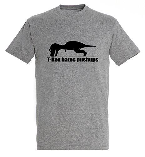 T-Rex Hates Pushups Workout Motivation Funny Men Herren Grey Melange T-shirt