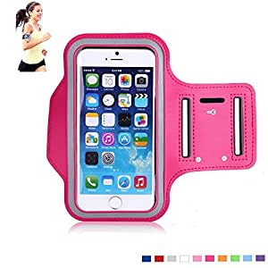 [Apple iPhone 6 (4.7-inch) Armband] MaxMall Sport Gym Bike Cycle Jogging Running Walking Armband for Apple iPhone 6 4.7 & Samsung Galaxy S6 5.1inch- Featured with Full Touchs creen Functionality, Slim & Light,Adjustable, Durable, Waterproof, Sweat proof, Dirt proof,Stylish-Casual PU Brush Surface Workout Cover Key Pocket-Rosered [Compatible with Cellphones up to 5.2 Inch]
