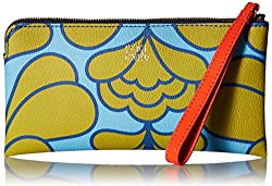 Orla Kiely Damask Flower Textured Vinyl Flat Zip Wallet, Sky, One Size