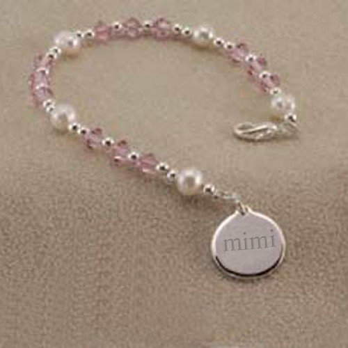 Mimi Charm Swarovski Crystal and Pearl Beaded Bracelet