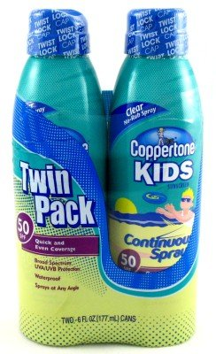 Coppertone SPF#50 Continuous Spray Clear Kids Twin Pack