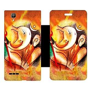 Skintice Designer Flip Cover with Vinyl wrap-around for Oppo F1, Design - Ganesha
