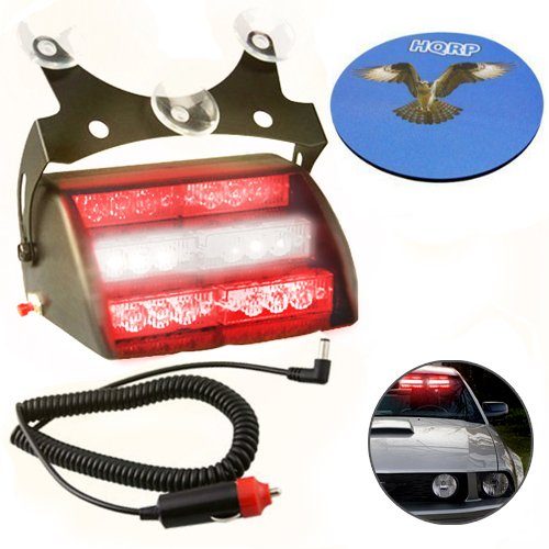 Hqrp Red / White 18 Led Car Emergency Vehicle Warning Strobe Flash Light 12V With 4 Flash Mode Plus Hqrp Coaster