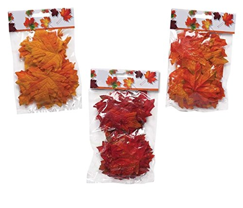 120 Artificial Fall Maple Leaves in a Mixture of Autumn Colors - Great Autumn Table Scatters for Fall Weddings, Autumn Parties and to Decorate any Art 'n' Crafts