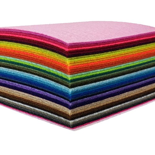 44 Pieces of Felt 4 x 4 inches (10 x10cm) Assorted Color Felt Fabric Sheets Patchwork Sewing DIY Craft 1mm Thick