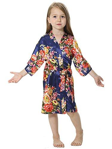 Joytton Girl's Satin Floral Kimono Bathrobe Flower Girl Robe (8,Dark Blue)