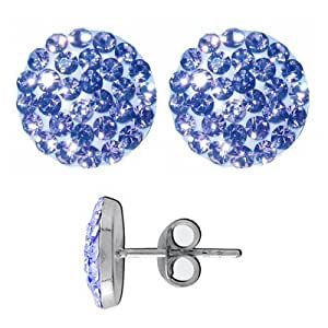 Round Crystal Earrings Gemstone Color: Light Blue