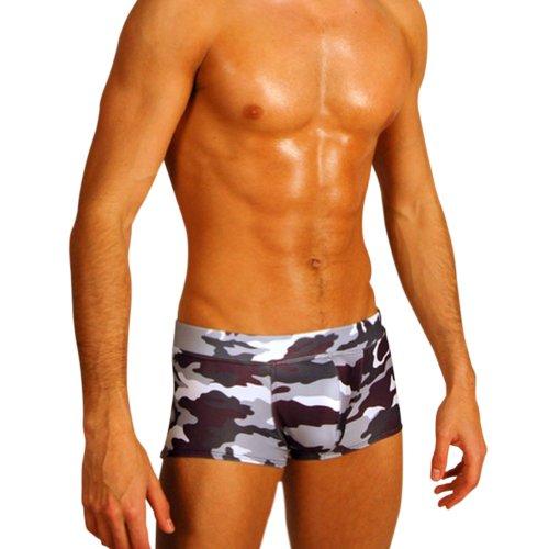 Mens Black Camouflage Hot Body Boxer Swimsuit Gary Majdell Sport Size Medium