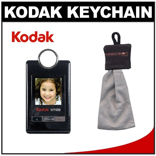 "KODAK SMILE G150 1.5"" Digital Photo Album Keychain (Black) + Microfiber Spudz Cloth Kit"