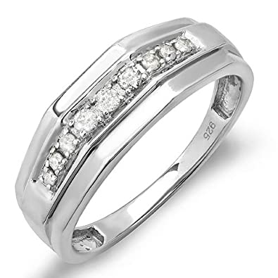 0.25 Carat (ctw) Sterling Silver Round White Real Diamond Mens Wedding Anniversary Band 1/4 CT