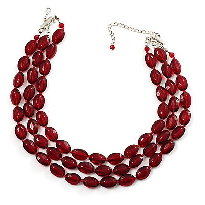 Cranberry Plastic Bead Multistrand Necklace