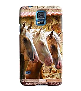 Omnam Three Horses Pattern Printed Designer Back Cover Case For Samsung Galaxy S5