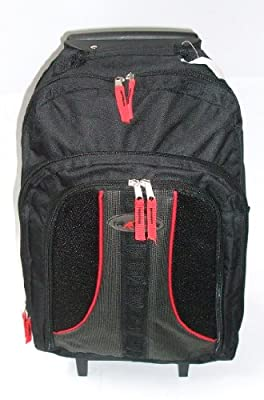 Cabin size approved Backpack on Wheels. Wheeled Camping / Hiking Rucksack BLACK / RED