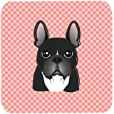 "Caroline's Treasures BB1227FC Checkerboard Pink French Bulldog Foam Coaster (Set Of 4), 3.5"" H X 3.5"" W, Multicolor"